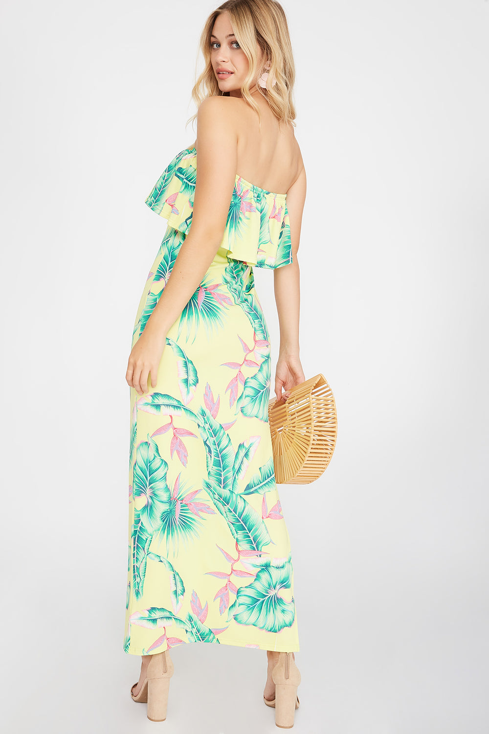 Floral Strapless Ruffle Tube Side Slit Maxi Dress Yellow