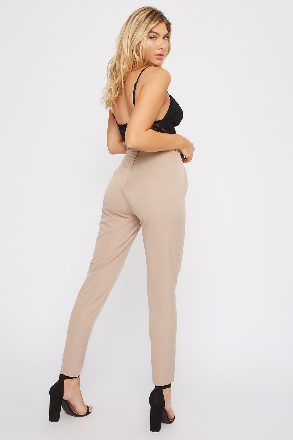 Lace Contrast Straight Leg Jumpsuit Taupe