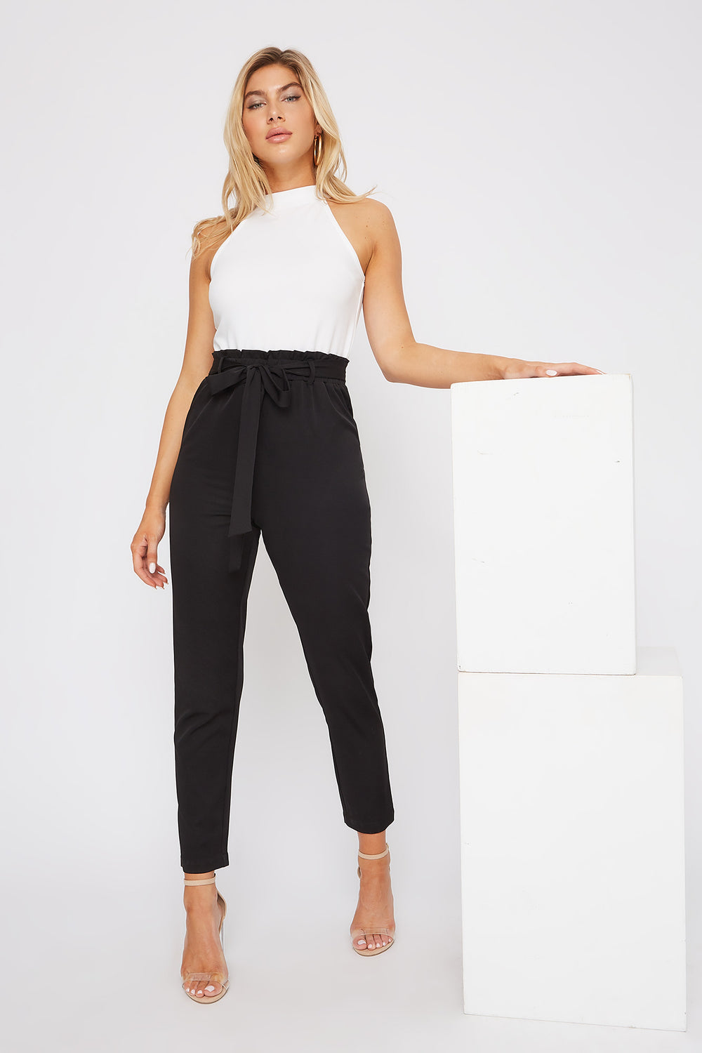 High Neck Paperbag Jumpsuit Black
