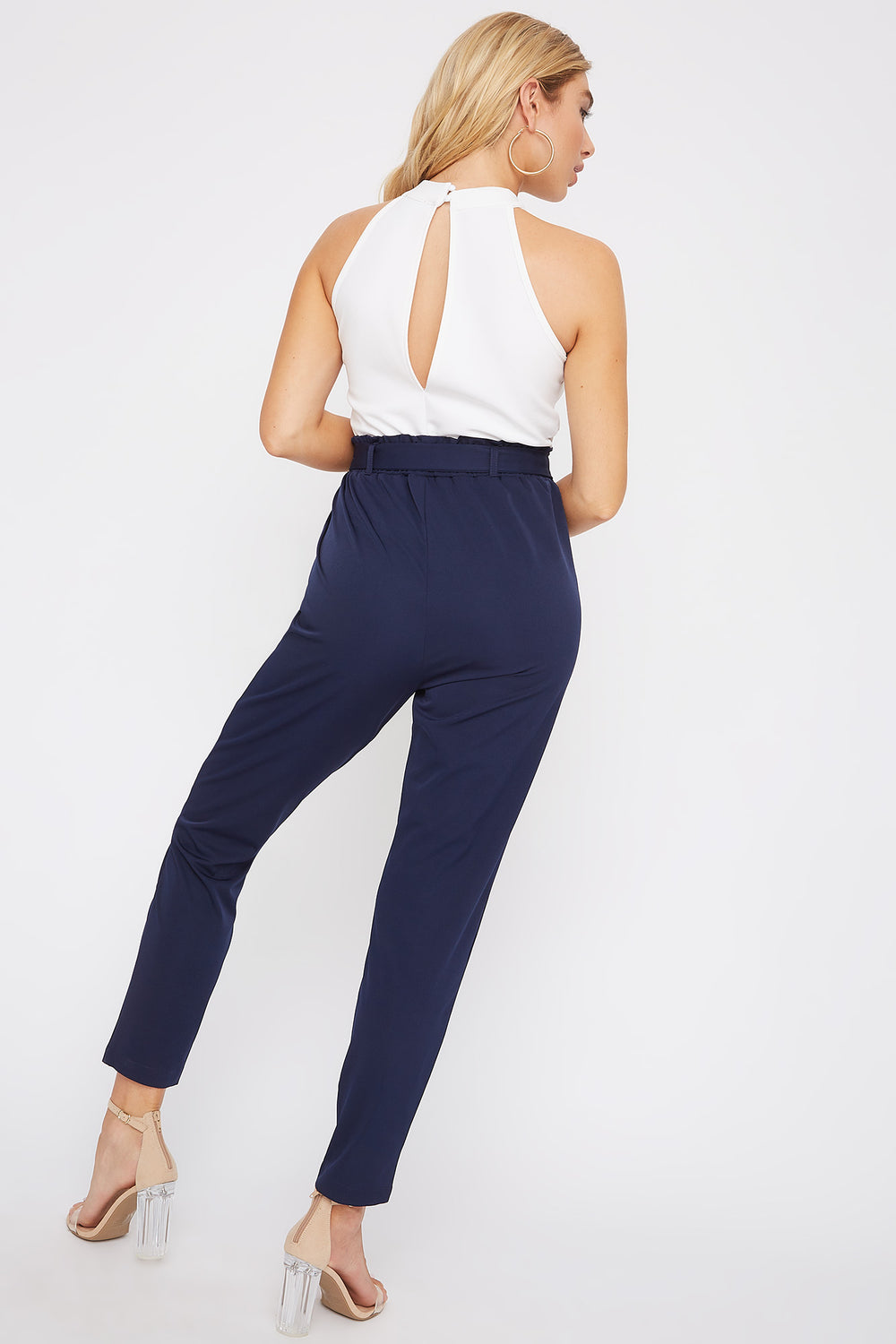 High Neck Paperbag Jumpsuit Navy