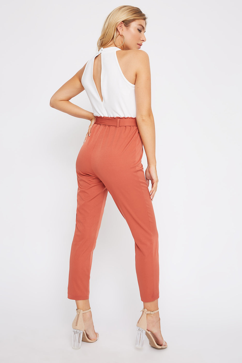 High Neck Paperbag Jumpsuit Rust