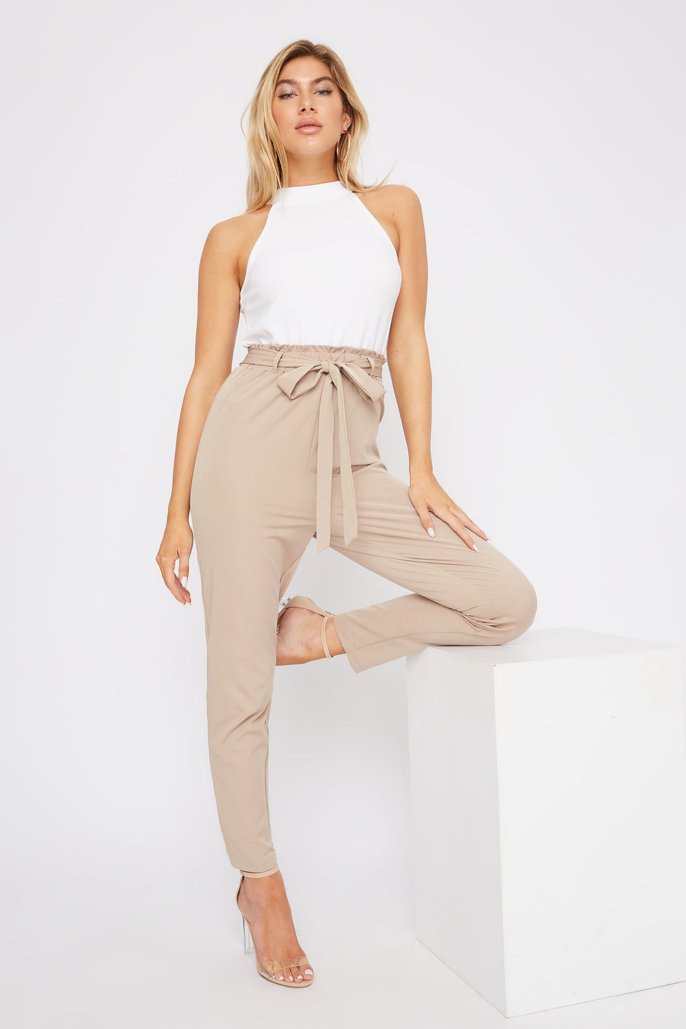 High Neck Paperbag Jumpsuit Taupe