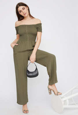 Off The Shoulder Smocked Button Front Jumpsuit
