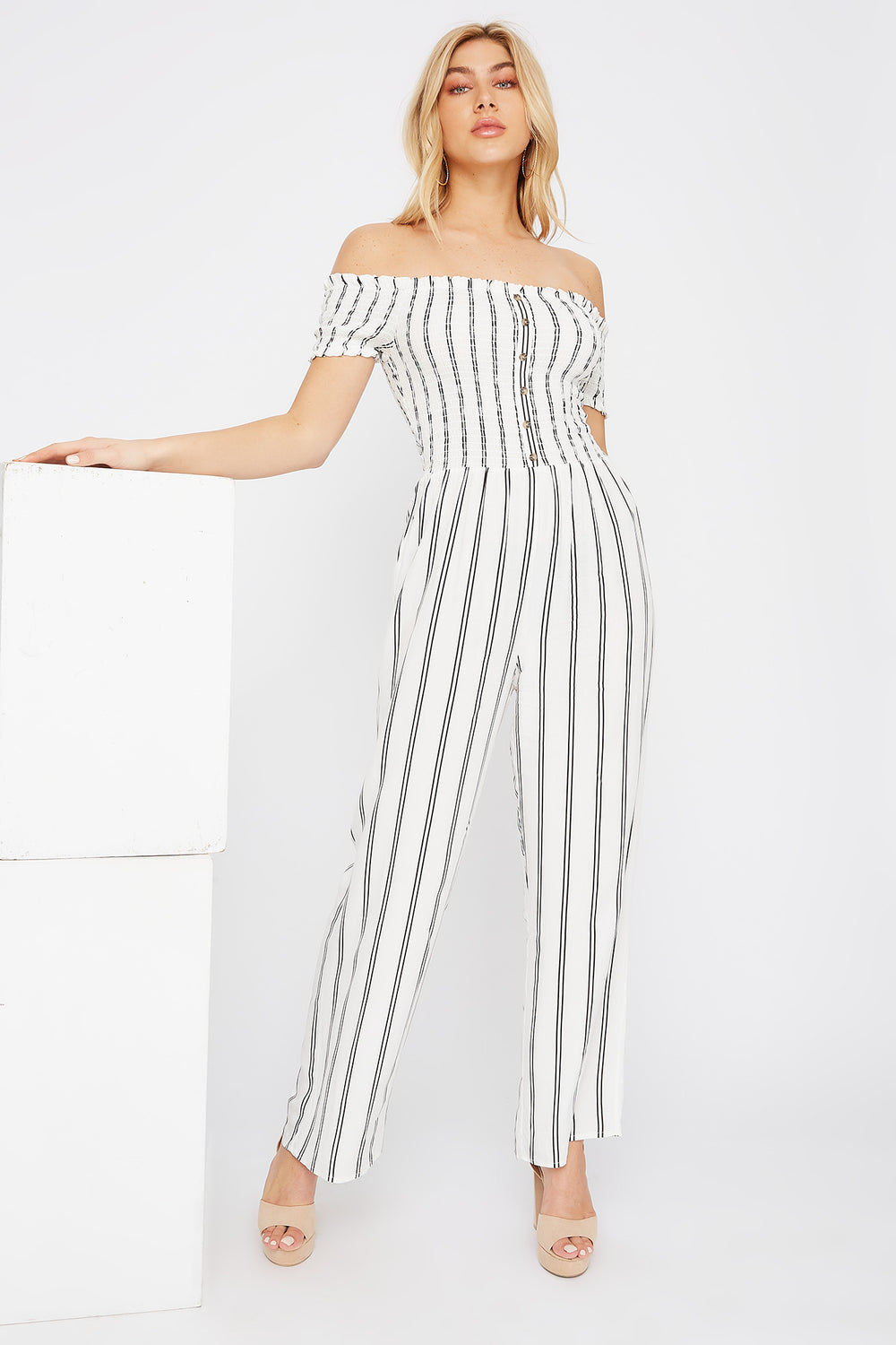 Off The Shoulder Smocked Button Jumpsuit Cream
