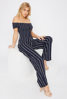 Off The Shoulder Smocked Button Jumpsuit