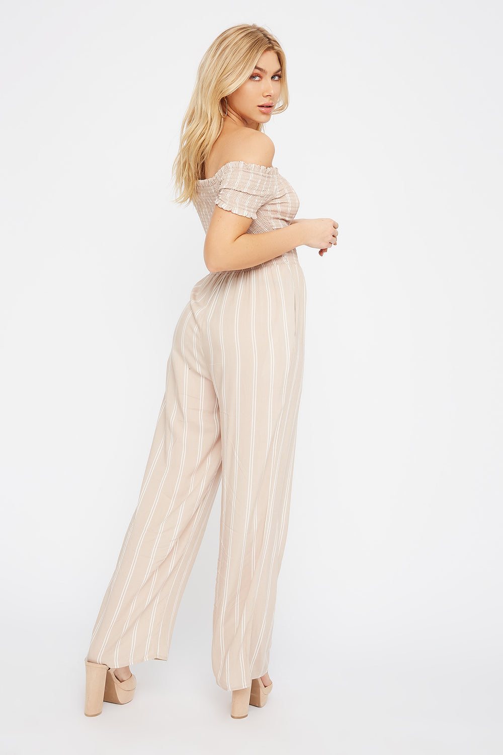 Off The Shoulder Smocked Button Jumpsuit Taupe