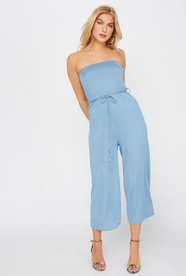Strapless Solid Culotte Jumpsuit