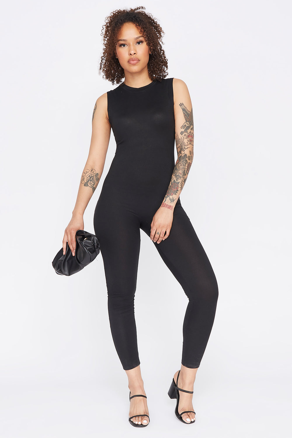 Soft Keyhole Back Sleeveless Jumpsuit Black