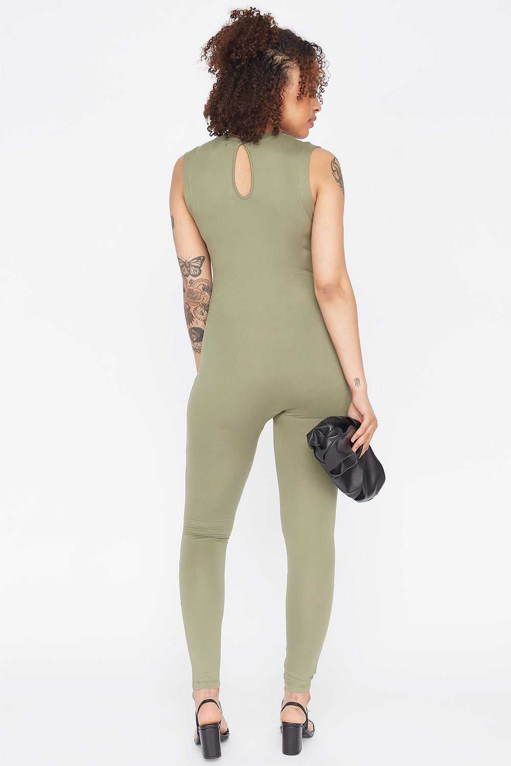 Soft Keyhole Back Sleeveless Jumpsuit Dark Green