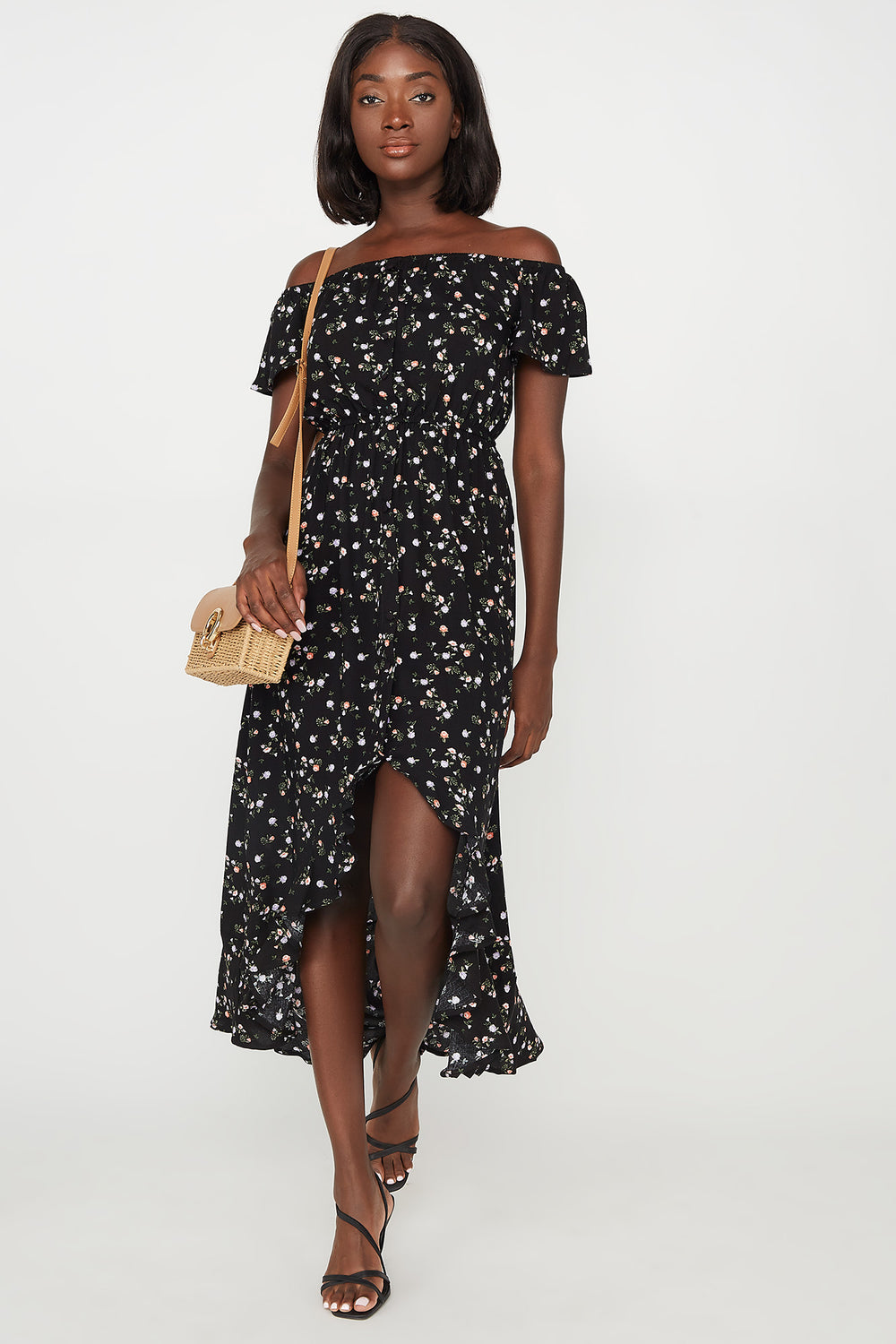 Floral Off The Shoulder Ruffle Hem High-Low Maxi Dress Black