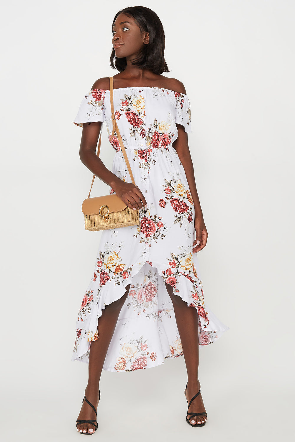 Floral Off The Shoulder Ruffle Hem High-Low Maxi Dress White
