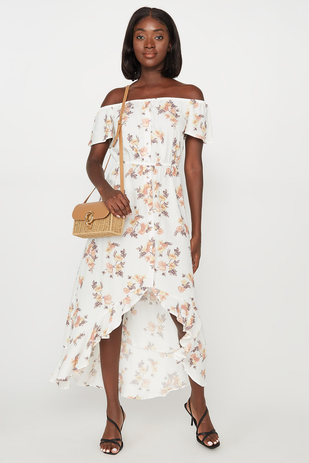 Floral Off The Shoulder Ruffle Hem High-Low Maxi Dress Off White