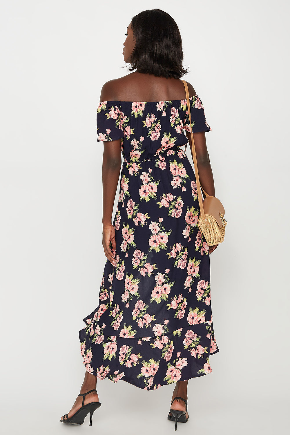Floral Off The Shoulder Ruffle Hem High-Low Maxi Dress Navy
