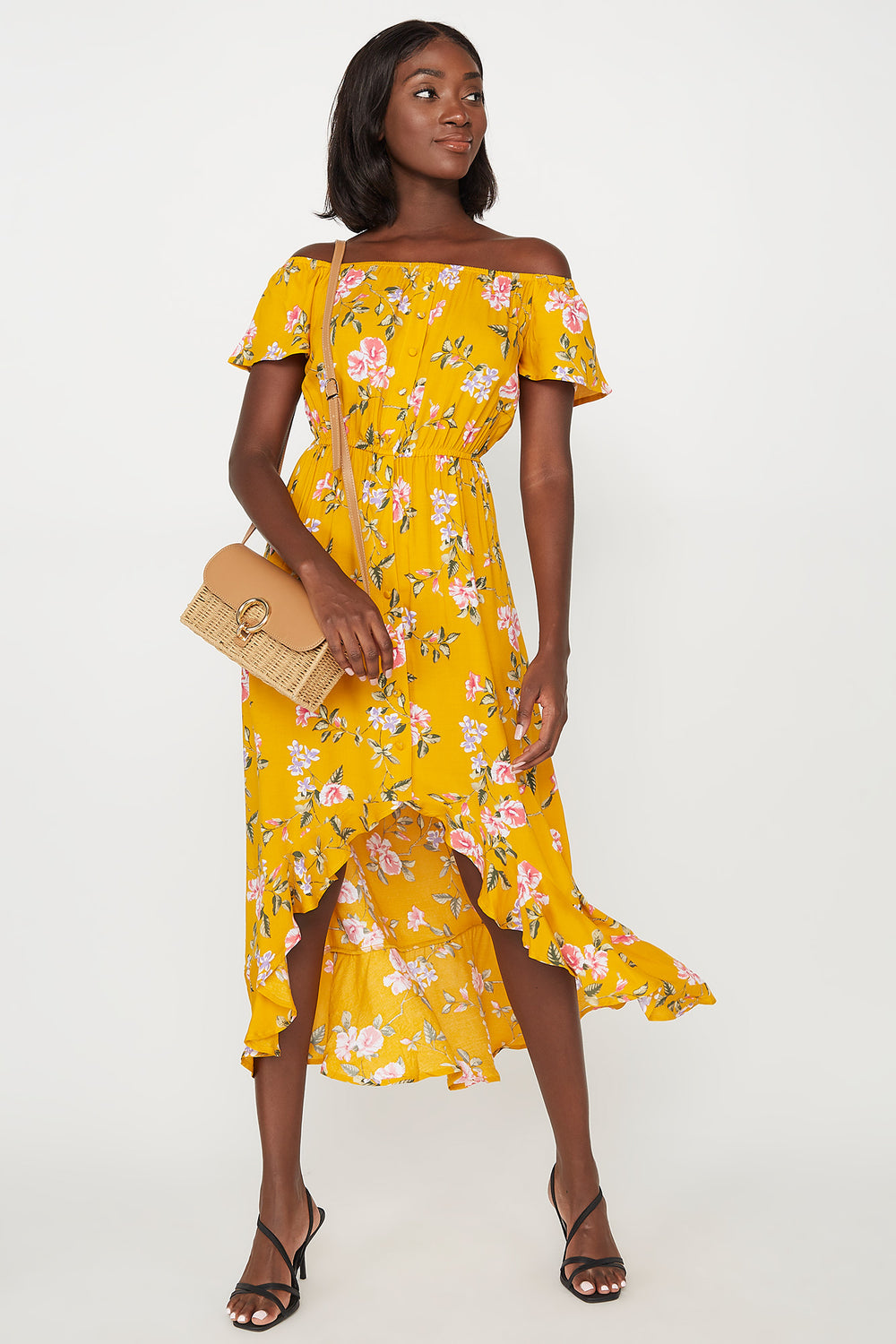 Floral Off The Shoulder Ruffle Hem High-Low Maxi Dress Mustard