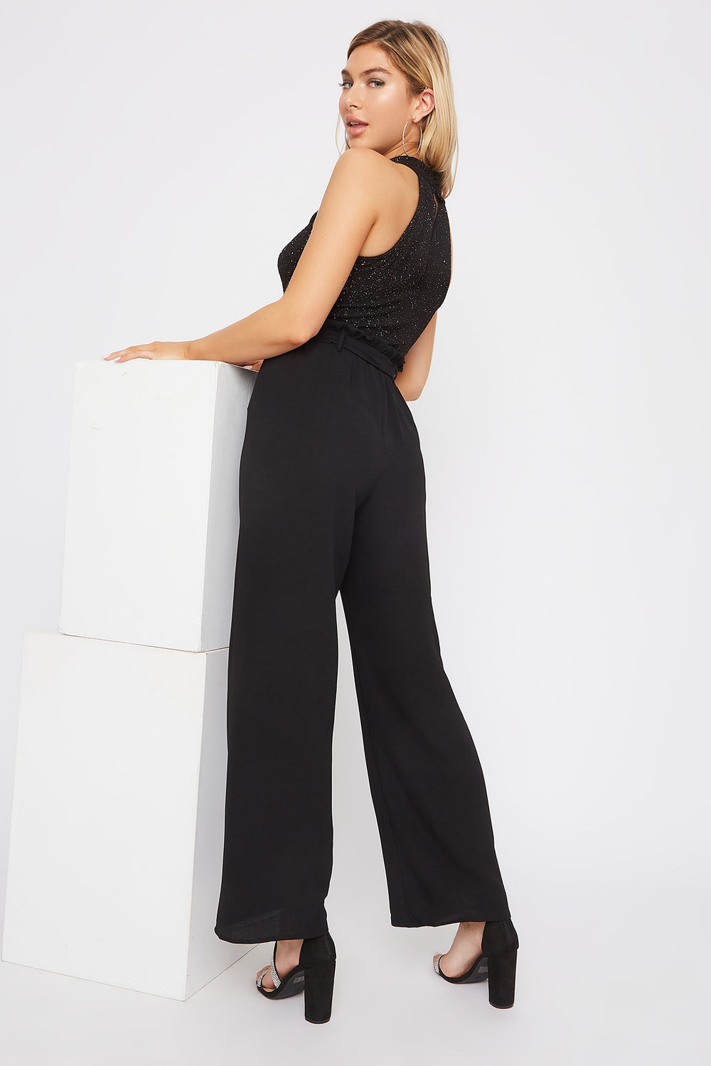 High Neck Glitter Wide Leg Jumpsuit Silver