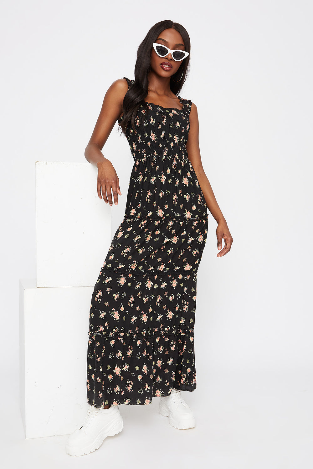 Floral 4-Tier Smocked Maxi Dress Black