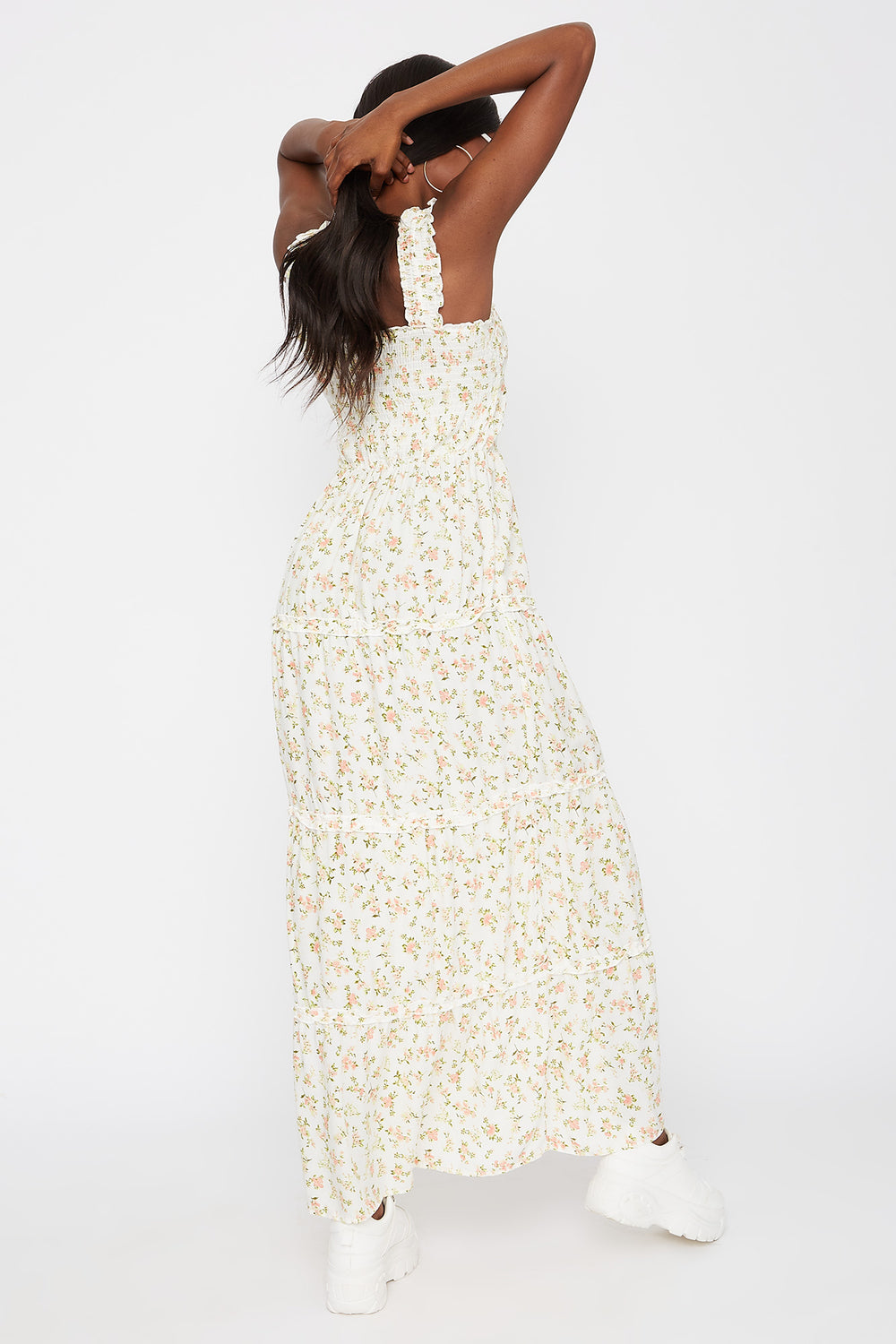 Floral 4-Tier Smocked Maxi Dress Ivory