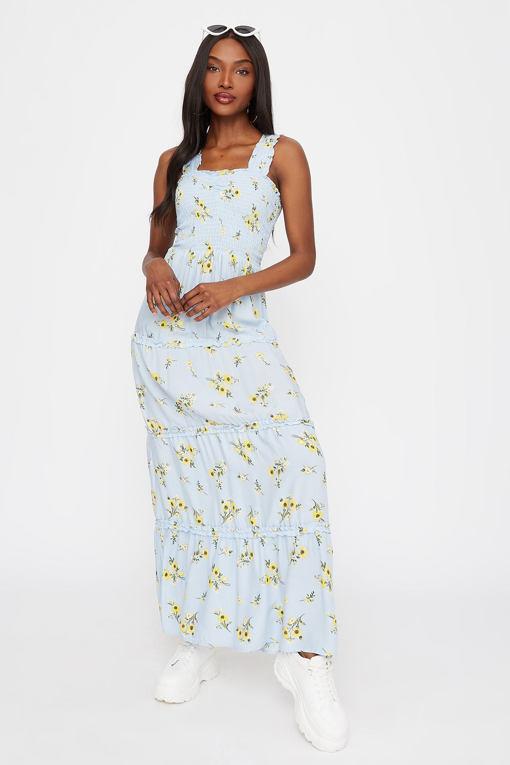 Floral 4-Tier Smocked Maxi Dress Light Blue
