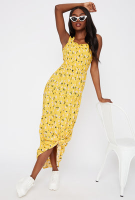 Floral 4-Tier Smocked Maxi Dress