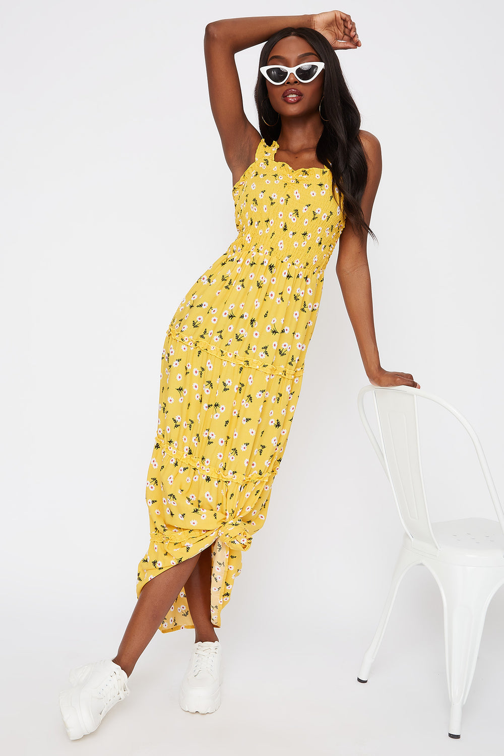 Floral 4-Tier Smocked Maxi Dress Yellow