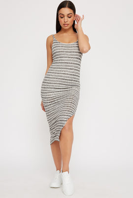 Striped Knit Ribbed Slit Sleeveless Maxi Dress