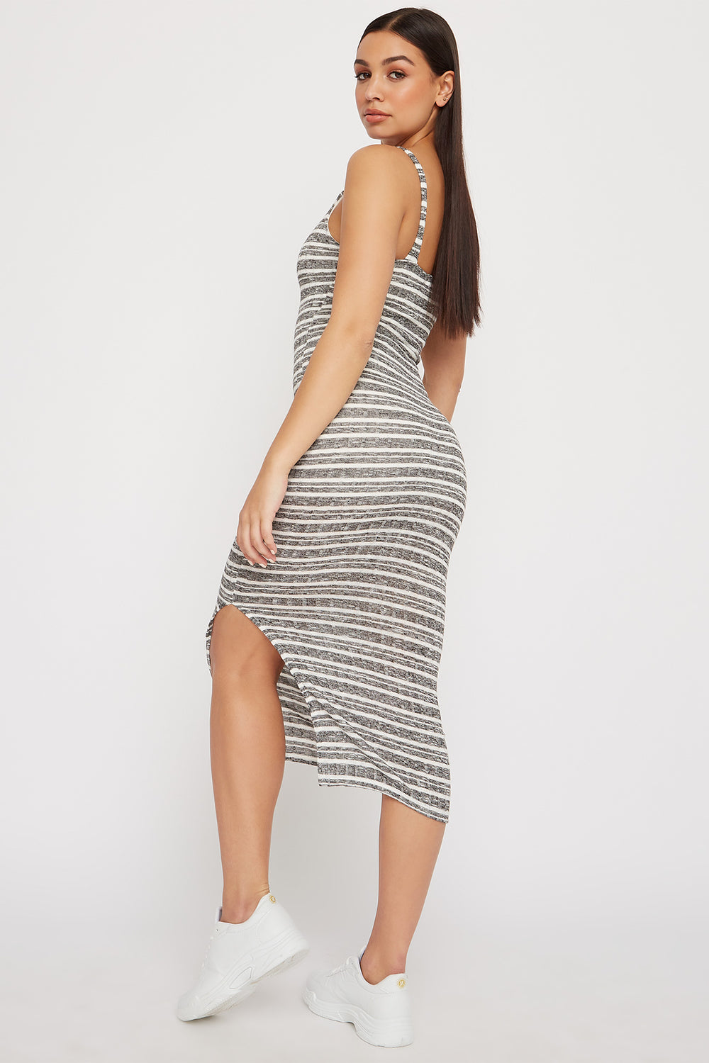 Striped Knit Ribbed Slit Sleeveless Maxi Dress Black
