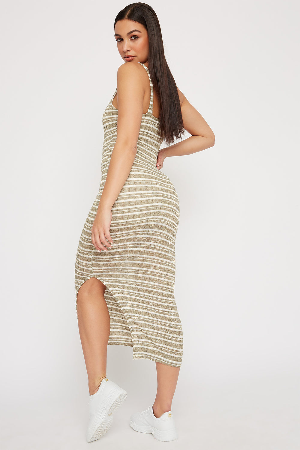Striped Knit Ribbed Slit Sleeveless Maxi Dress Dark Green
