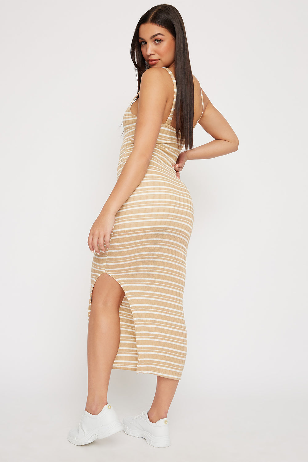 Striped Knit Ribbed Slit Sleeveless Maxi Dress Taupe