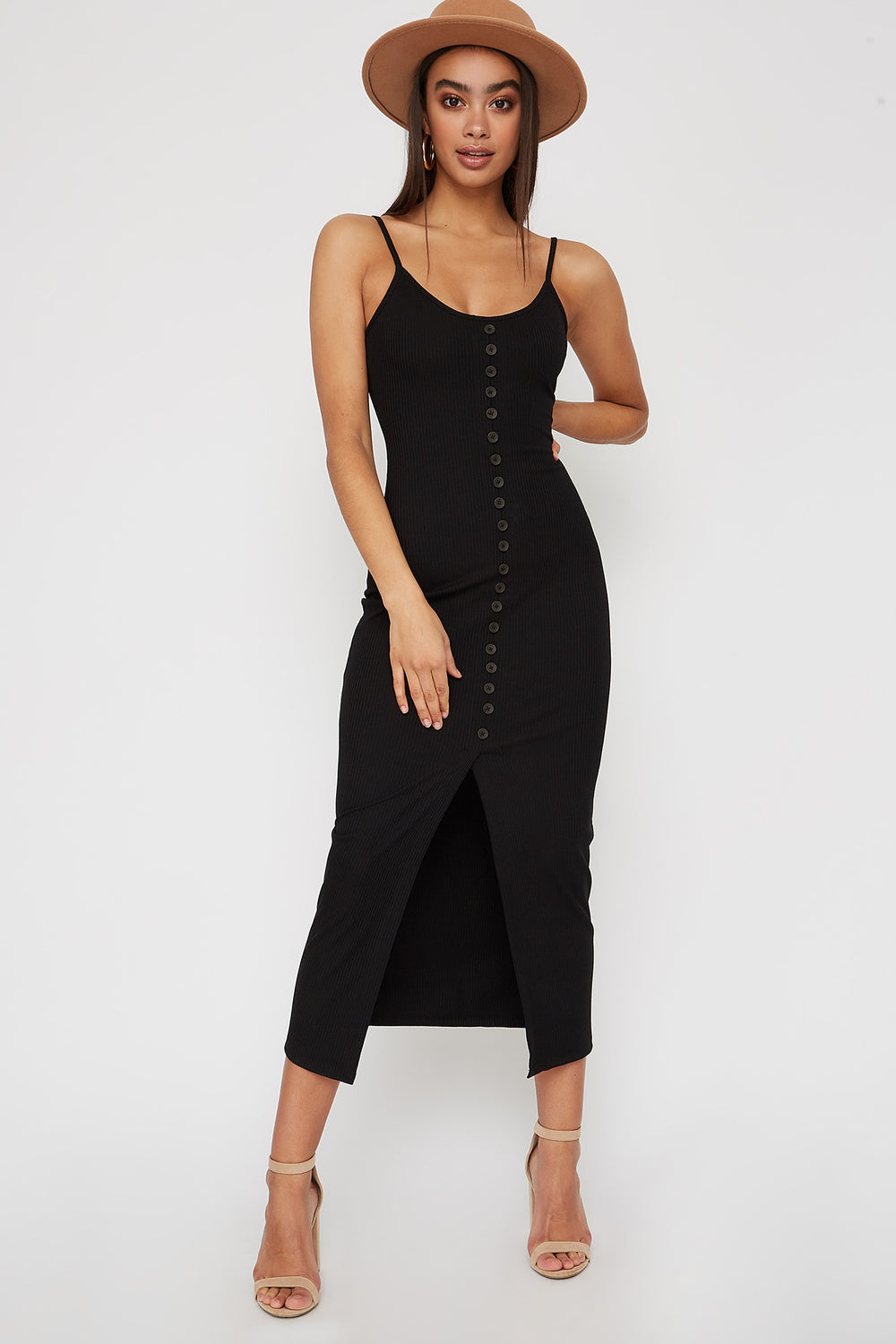 Ribbed Button Cut Out Sleeveless Midi Dress Black