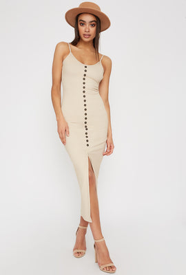 Ribbed Button Cut Out Sleeveless Midi Dress