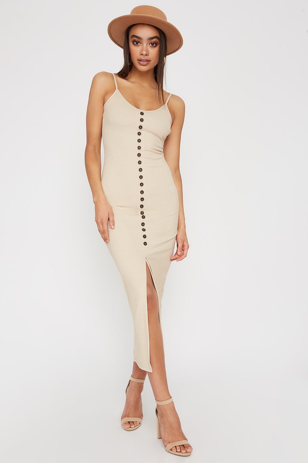 Ribbed Button Cut Out Sleeveless Midi Dress Oatmeal