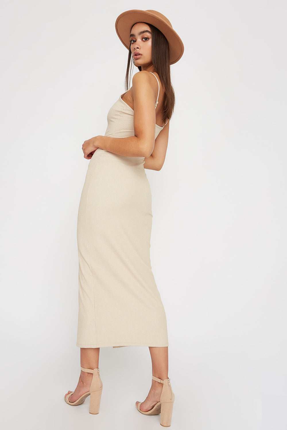 Women Dresses Ribbed Button Cut Out Sleeveless Midi Dress Oatmeal