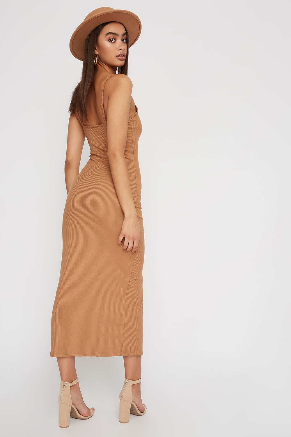 Ribbed Button Cut Out Sleeveless Midi Dress Tan