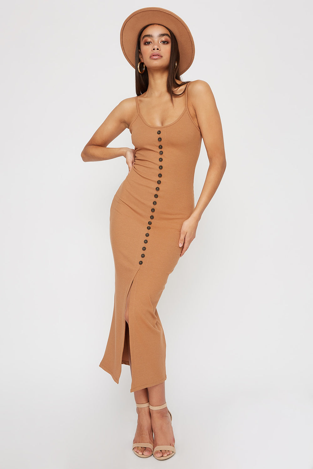 Women Dresses Ribbed Button Cut Out Sleeveless Midi Dress Tan