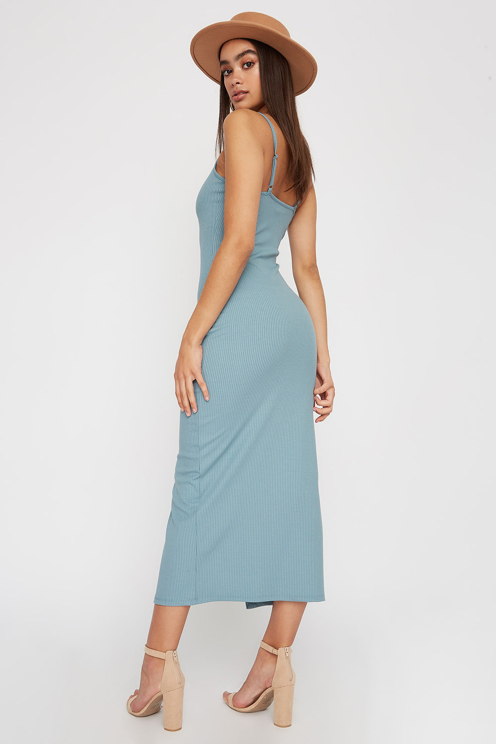 Women Dresses Ribbed Button Cut Out Sleeveless Midi Dress Light Blue