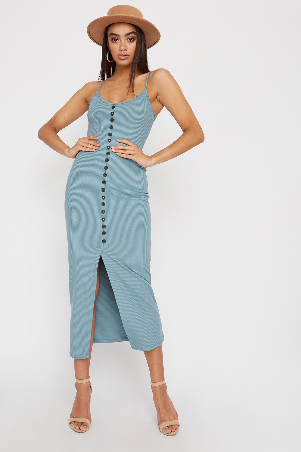 Ribbed Button Cut Out Sleeveless Midi Dress Light Blue