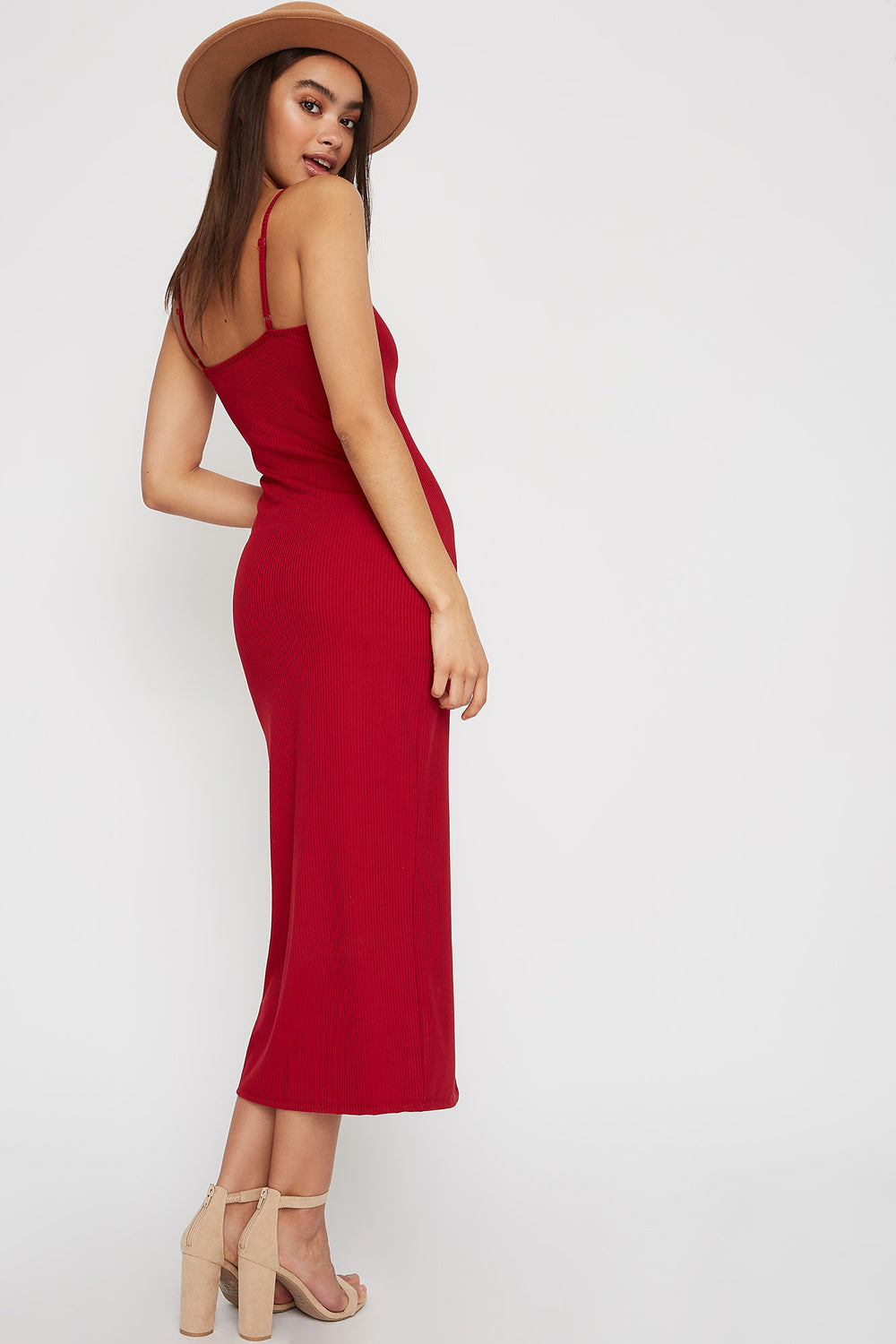 Ribbed Button Cut Out Sleeveless Midi Dress Dark Red