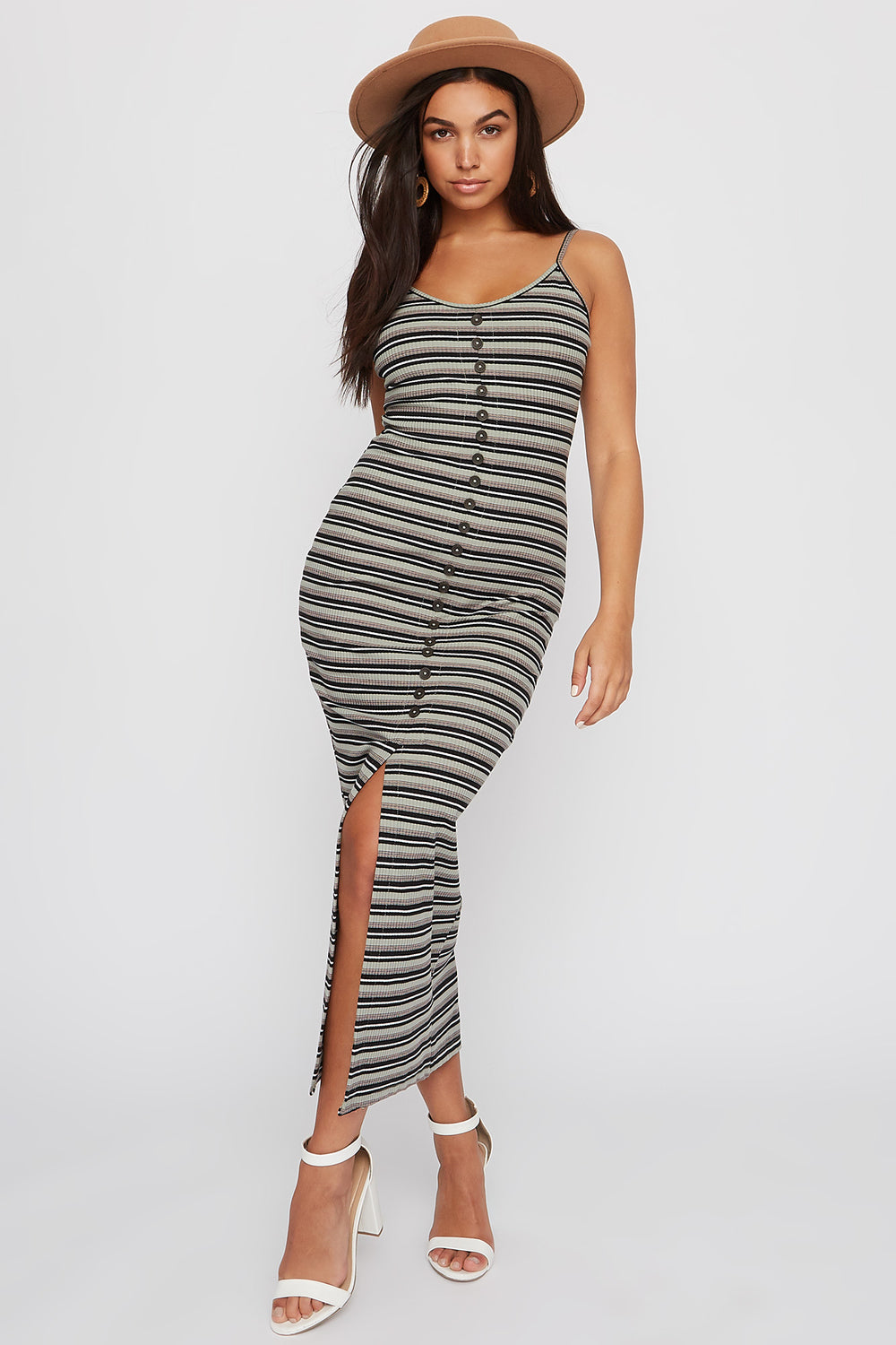 Striped Ribbed Button Slit Maxi Dress Dark Green