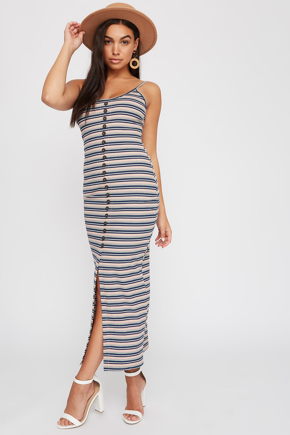 Striped Ribbed Button Slit Maxi Dress Navy
