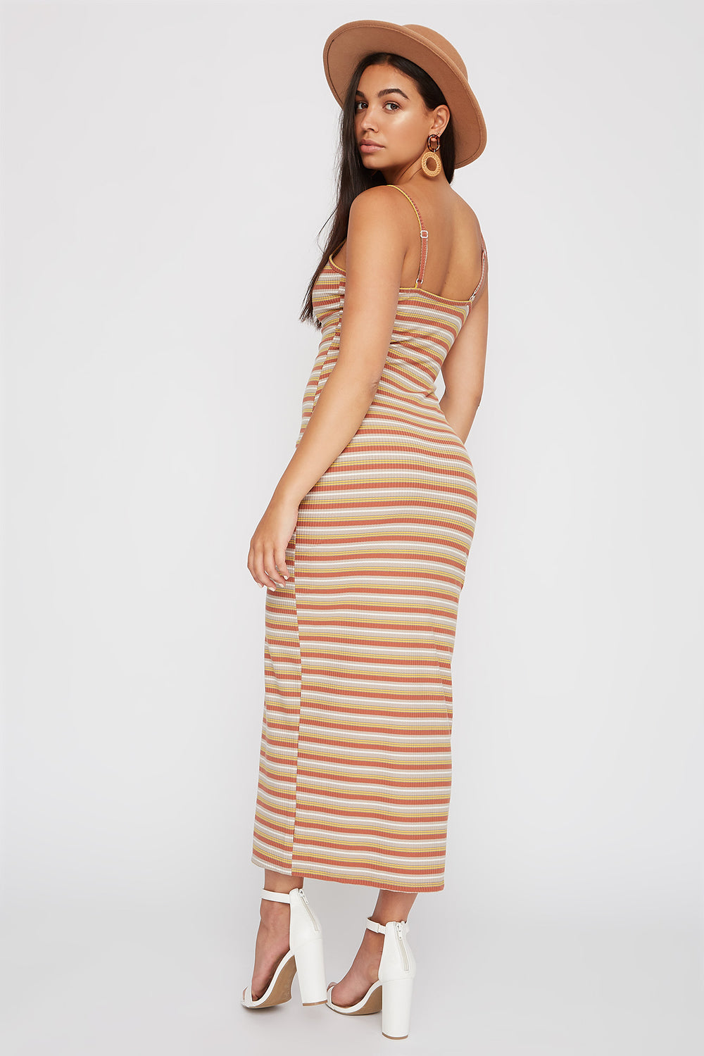 Striped Ribbed Button Slit Maxi Dress Taupe