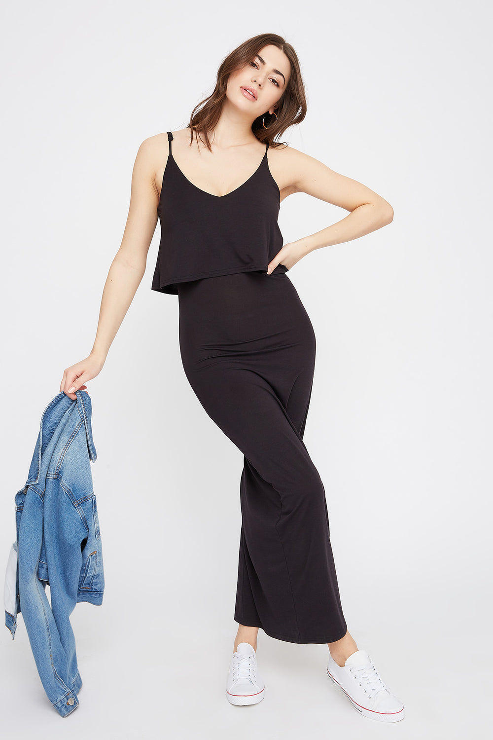 V-Neck Overlay Maxi Dress Black