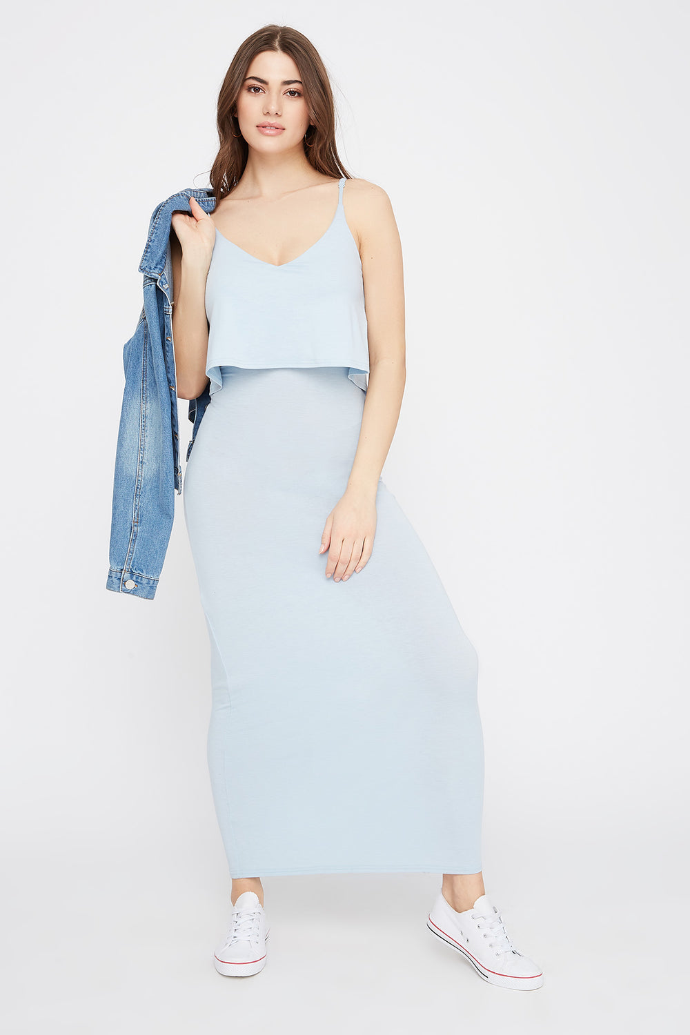 V-Neck Overlay Maxi Dress Baby Blue