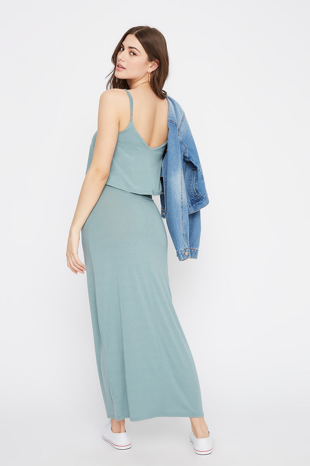 V-Neck Overlay Maxi Dress Sage
