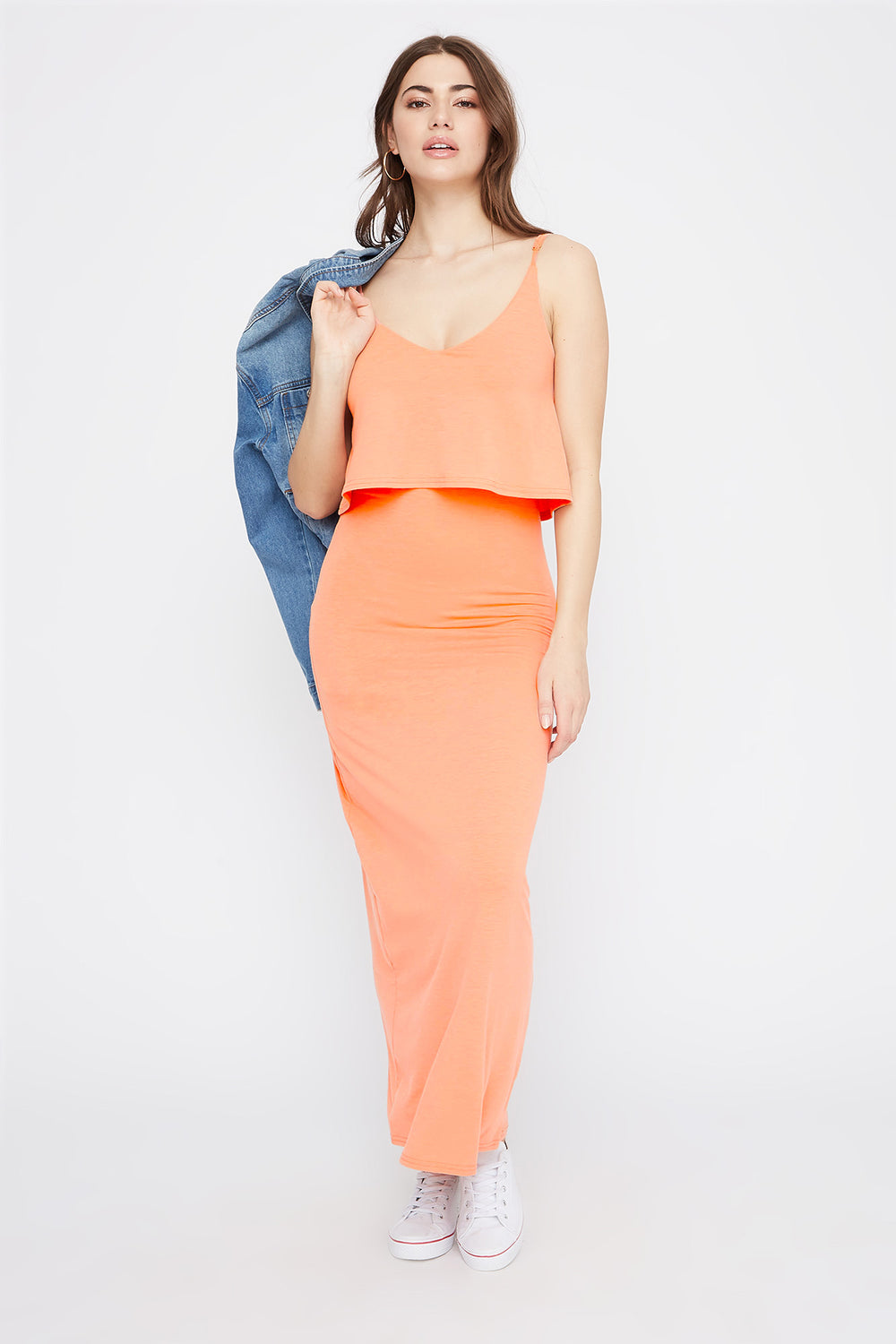 V-Neck Overlay Maxi Dress Coral