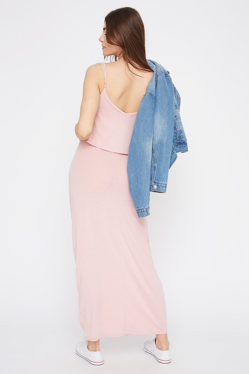 V-Neck Overlay Maxi Dress Dusty Rose