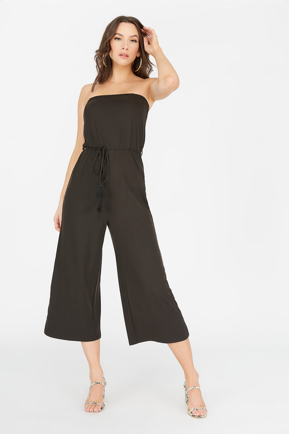 Soft Strapless Self-Tie Belted Culotte Jumpsuit Black