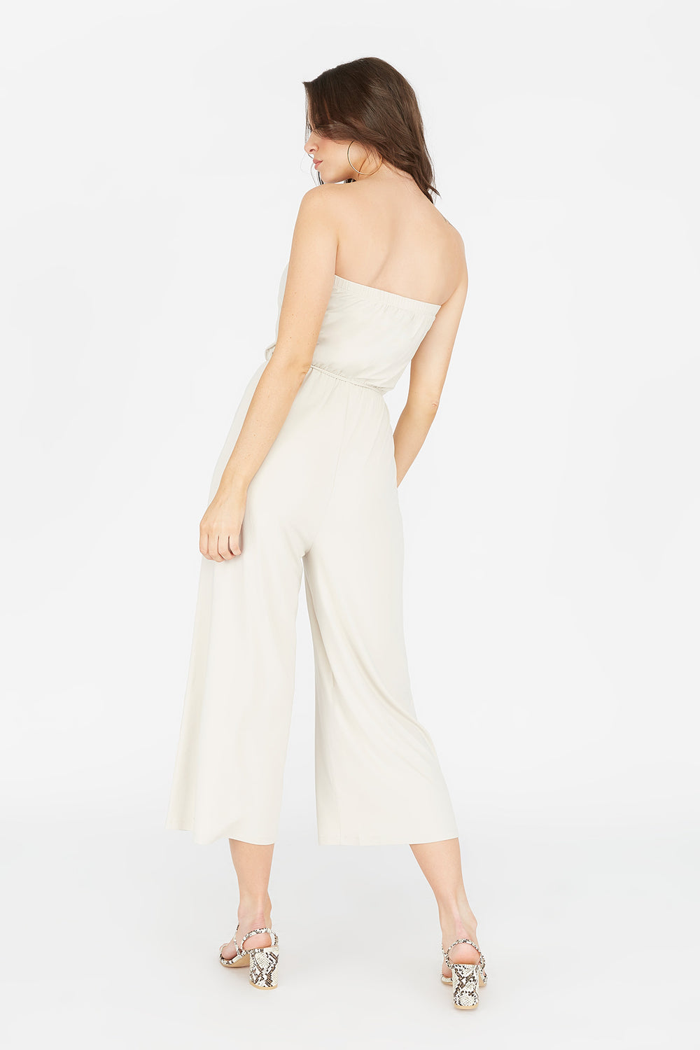 Soft Strapless Self-Tie Belted Culotte Jumpsuit Natural