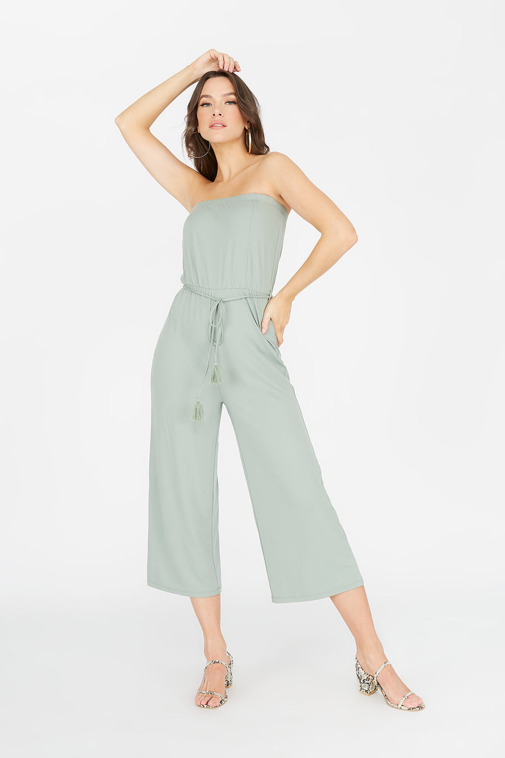 Soft Strapless Self-Tie Belted Culotte Jumpsuit Sage