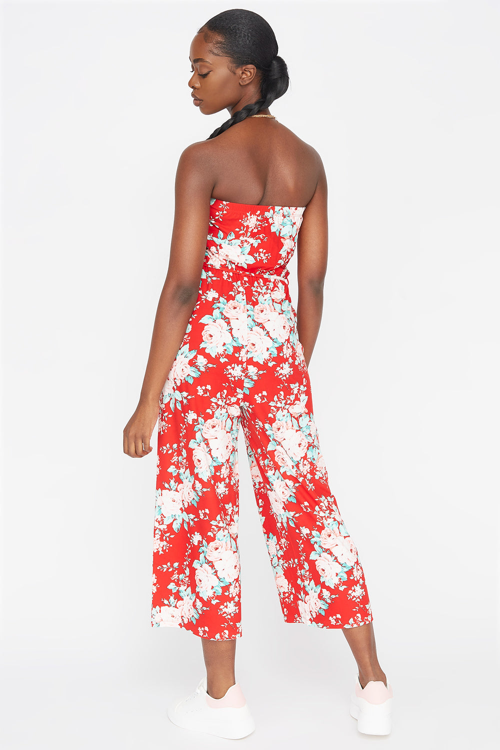 Soft Printed Strapless Self-Tie Belted Culotte Jumpsuit Cherry