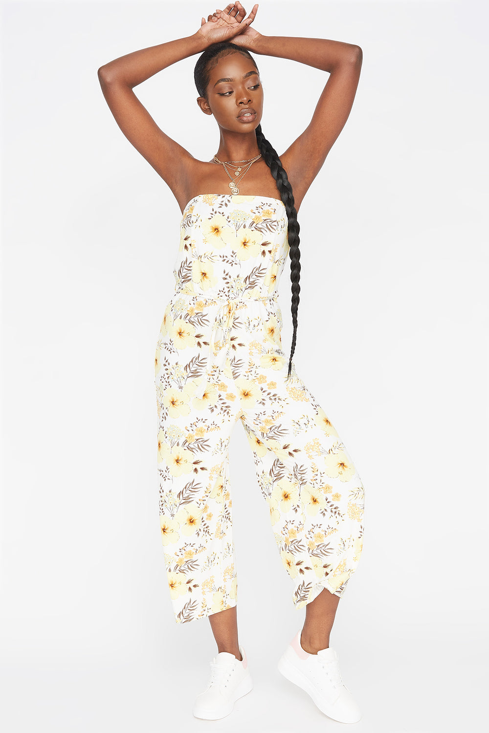 Soft Printed Floral Strapless Self-Tie Belted Culotte Jumpsuit Navy Blue
